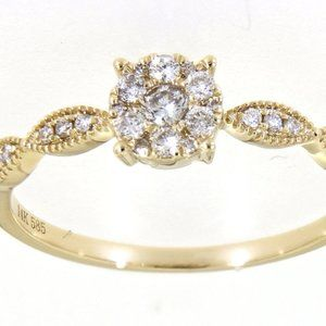 Solid Diamond Floral Style Fancy Ring Yellow Gold